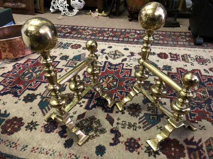Paar Feuerböcke Kaminböcke antik fire dogs Messing Eisen viktorianisch