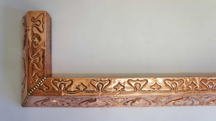 Kamin Kotflügel mit Kupferverkleidung Kupferrahmen antik Massivholz ca. 1910/15