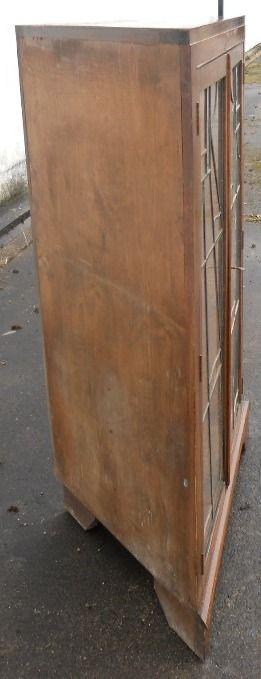 Eiche Eckvitrine Art Deco Original Massivholz mit Bleiverglasung