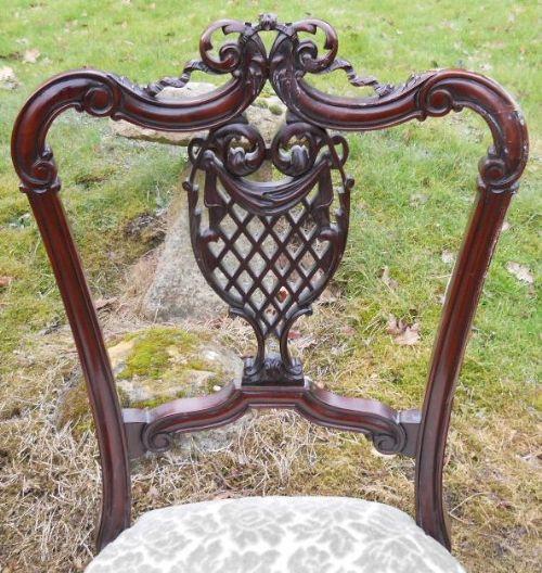 2er Satz antiker edwardianischer Stillstühle Nursing Chairs aus Mahagoni ca 1900
