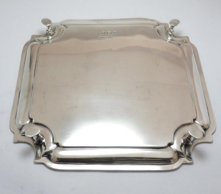 Antikes englisches quadratisches Sterling Silber Tablett silver square card tray aus Birmingham von 1926
