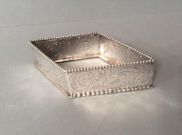 Antike englische Schmucklade aus Sterling Silber / Silver Jewellery Tray, William Comyns, viktorianisch, 1886