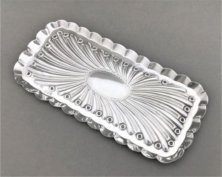 Antikes englisches Silber Stifte Tablett / Silver Pen Tray, Comyns, viktorianisch, 1894