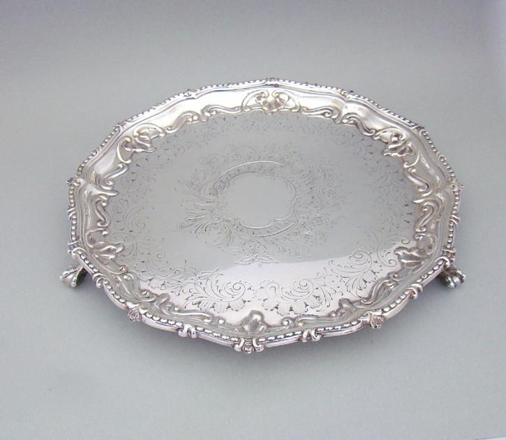 Antikes viktorianisches versilbertes Tablett / Silver Plated Tray ca 1860