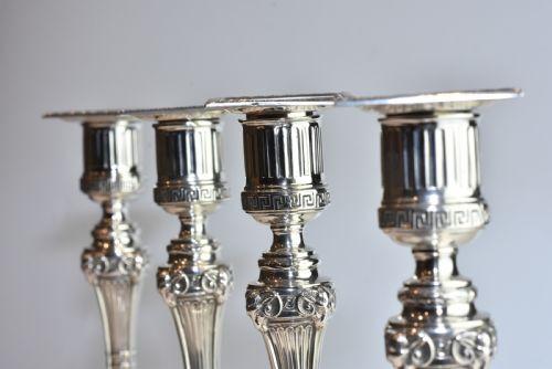 Antikes englisches seltenes 4er Set Kerzenleuchter / Candlesticks aus Sterling Silber, Hawksworth & Eyre, ca 1900