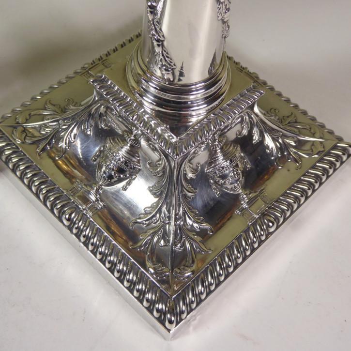 2er Set antiker englischer Kerzenleuchter / Candlesticks aus Silber, 1897