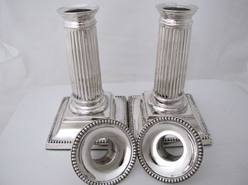 Antikes englisches 2er Set Mini Silber Kerzenleuchter / Dwarf Candlesticks, edwardianisch 1906