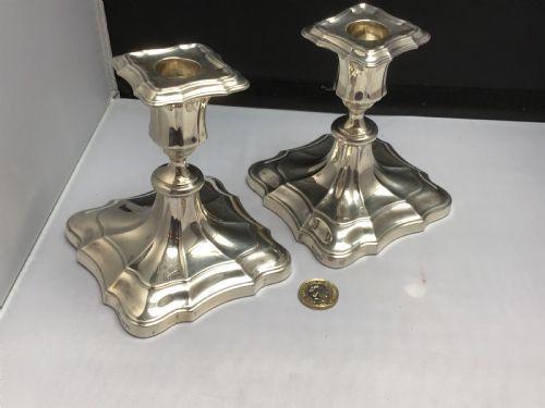 Antikes englisches Paar stabiler Silber Kerzenleuchter / Silver Candlesticks, 1911