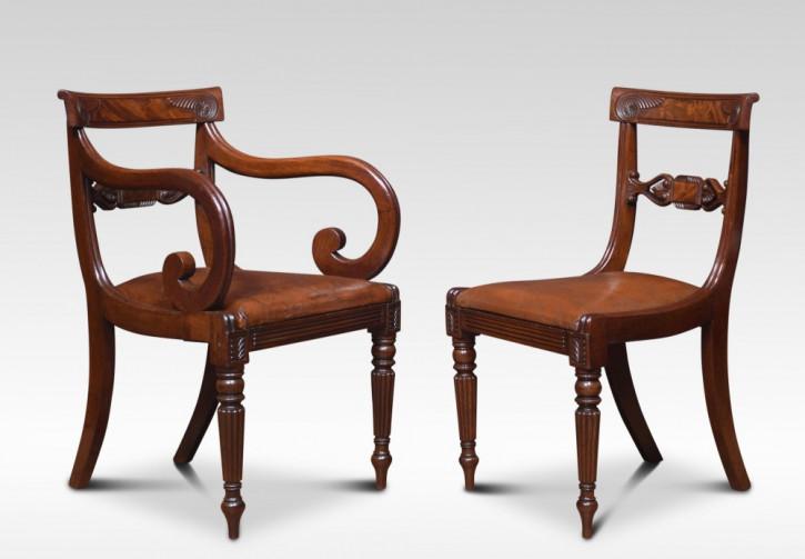 Satz aus 8 antiken William IV Mahagoni Esszimmerstühlen