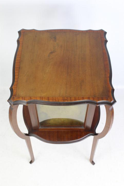 Antike edwardianische Arts & Crafts Bijouterie Mahagonivitrine