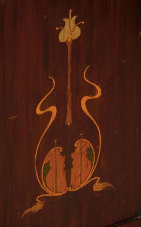 Art Nouveau Eck Vitrine Mahagoni Kunsthandwerk Massivholzvitrine antik ca. 1900