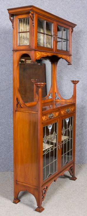 Art Nouveau Vitrine antike Mahagoni Massivholzvitrine ca. 1910