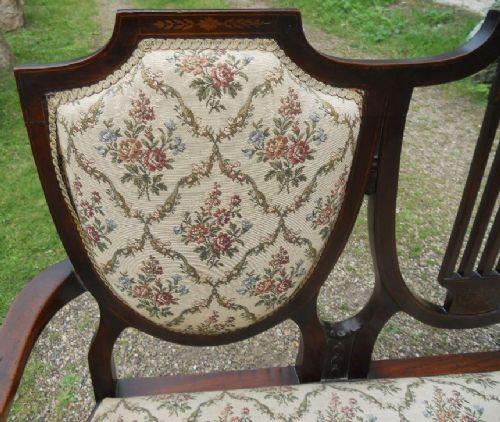 """Antikes edwardianisches/edwardian """"Triple Shield Back"""" Mahagonisofa, 1900"""