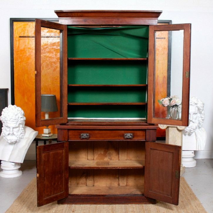 Viktorianischer verglaster Mahagoni Bücherschrank Massivholz antik ca 1880