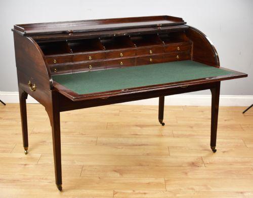 Georgianischer Mahagoni Rolltop Schreibtisch Massivholz antik 19.Jahrhundert