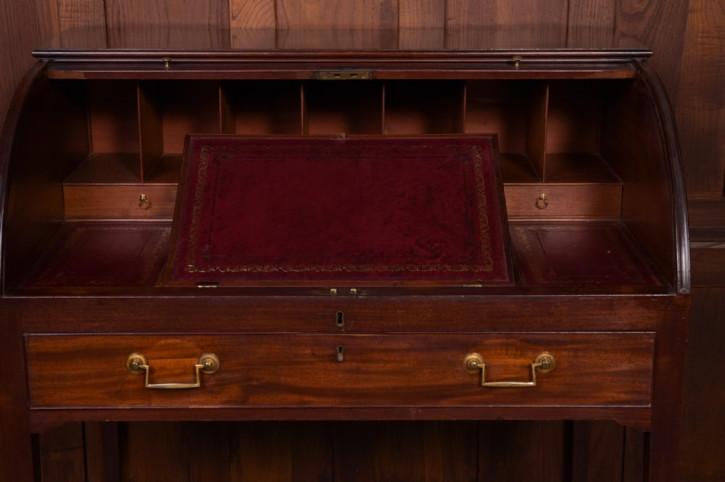 Georgianischer Mahagoni Rolltop Schreibtisch Massivholz antik