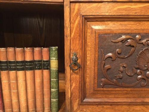 Viktorianisches Eichen Bücherregal Massivholz antik ca 1890