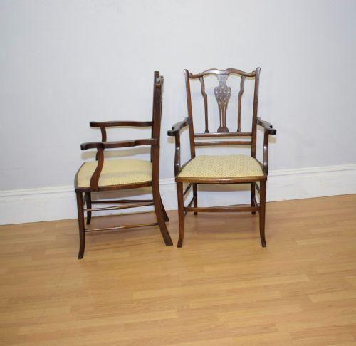 Edwardianisches Paar Mahagoni Stühle Massivholz antik ca 1900