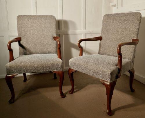 Paar edwardianischer Mahagoni Stühle Massivholz antik ca 1910