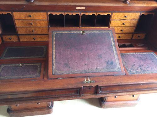 Viktorianischer Mahagoni Zylinder Schreibtisch Massivholz antik ca 1880