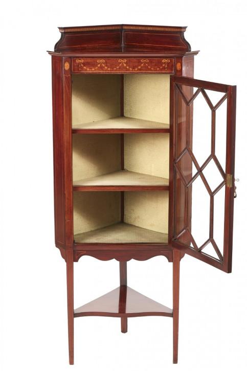 Antike Mahagoni Eckvitrine / Corner Cabinet, edwardian / edwardianisch, ca. 1900