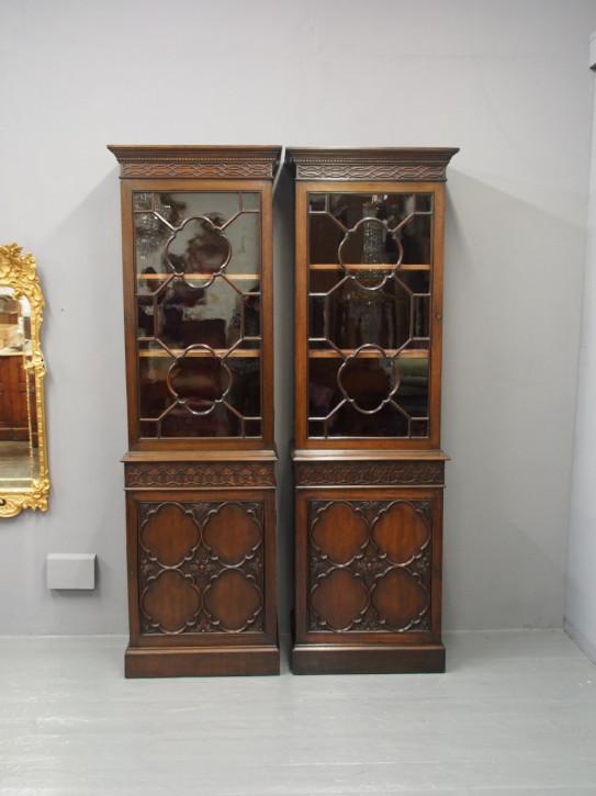 Georgianisches Paar Mahagoni Bücherschränke Massivholz antik ca 1890