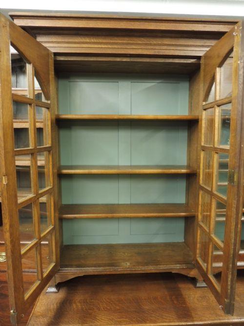 antikes Paar Bücherschränke Eiche Massivholz 1900