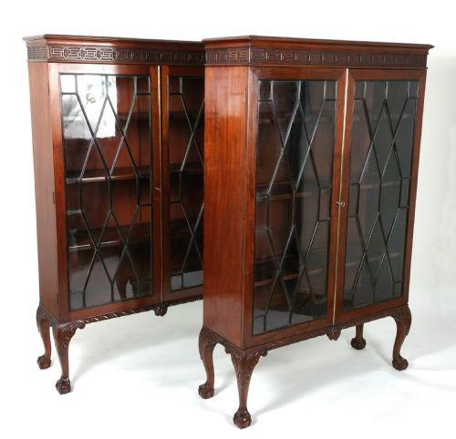 antikes Paar Chippendale-Revival-Bücherschränke Mahagoni Massivholz 1890