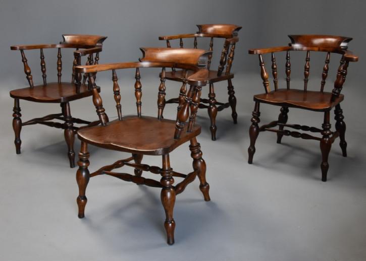 antiker Satz Windsorstühle Buchen- und Ulmenholz Massivholz 1860