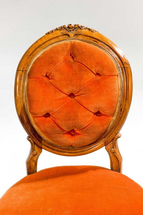 Set aus sechs Esszimmerstühlen aus Satinbirke aus dem 19. Jahrhundert
