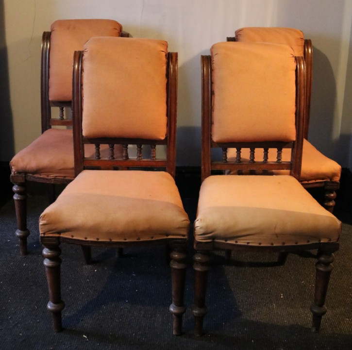 Satz von vier viktorianischen Mahagoni-Esszimmerstühlen, antik, ca. 1870