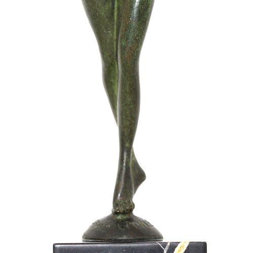 Antike Art Deco Bronzefigur von Serge Zelikson