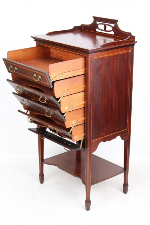 Antiker, edwardianischer Musikschrank aus Mahagoni Massivholz um 1905