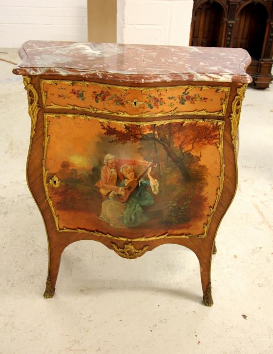 Antike Kommode aus französischem Kingwood-Marmor aus dem 19. Jahrhundert mit Vernis Martin bemalten Paneelen