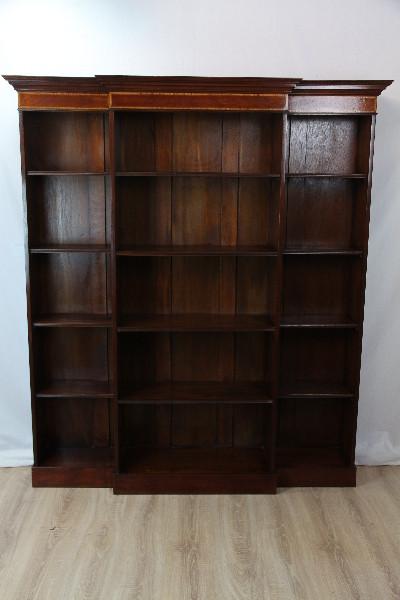 Breakfront Bookcase Mahagoni Bücherschrank Intarsien