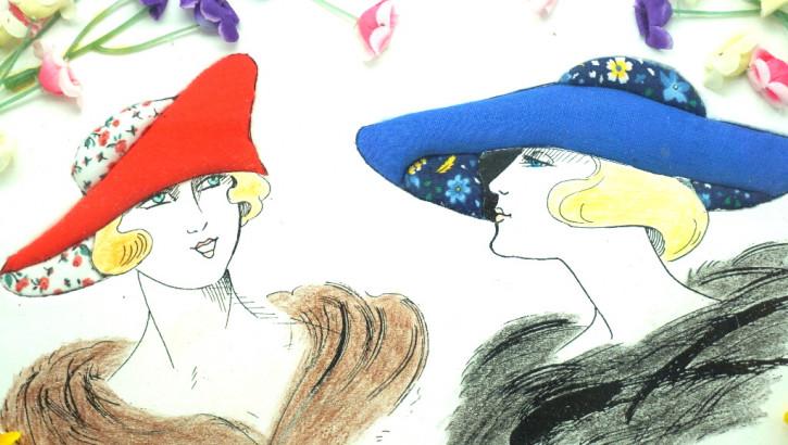 Damenköpfe 20er Jahre Motiv im Holzrahmen