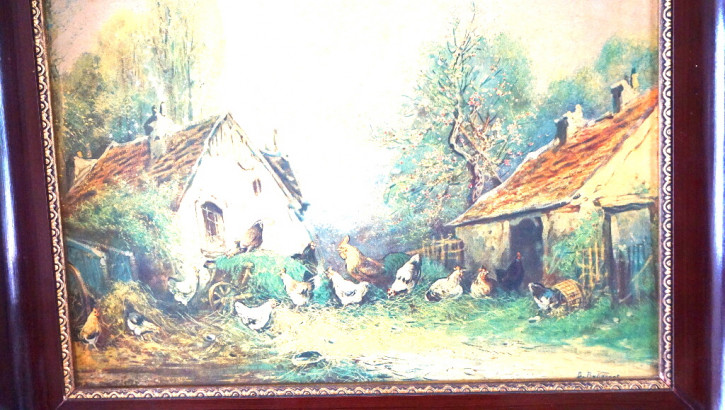 Rahmen Antik mit Hühnermotiv Frankreich