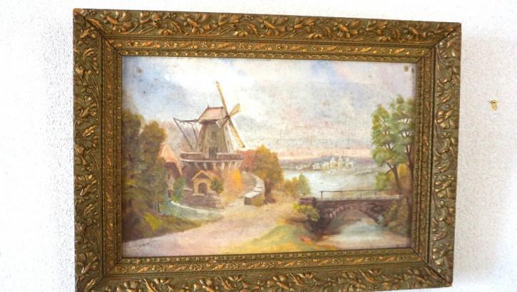 Antiker Goldrahmen mit Landschaftmotiv  Oel
