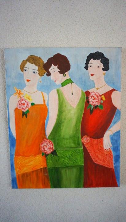Oelbild 20er Jahre Frauen Vintage