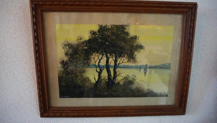 Druck im Eichenrahmen Baum und See