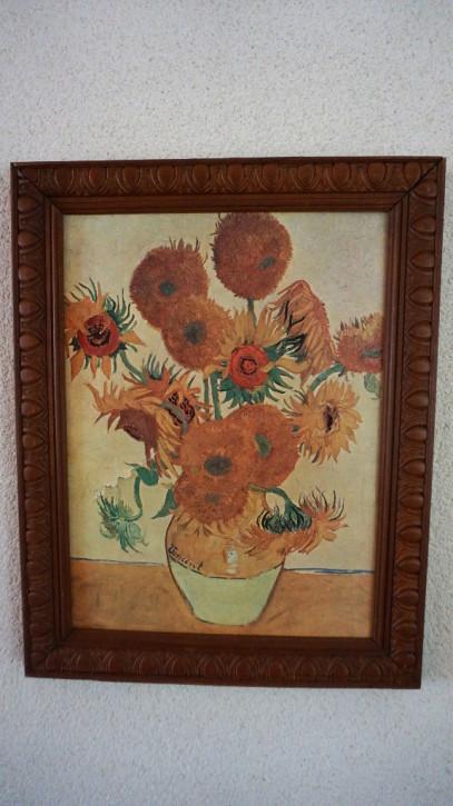 Blumenstrauß Gemälde im Eichenrahmen