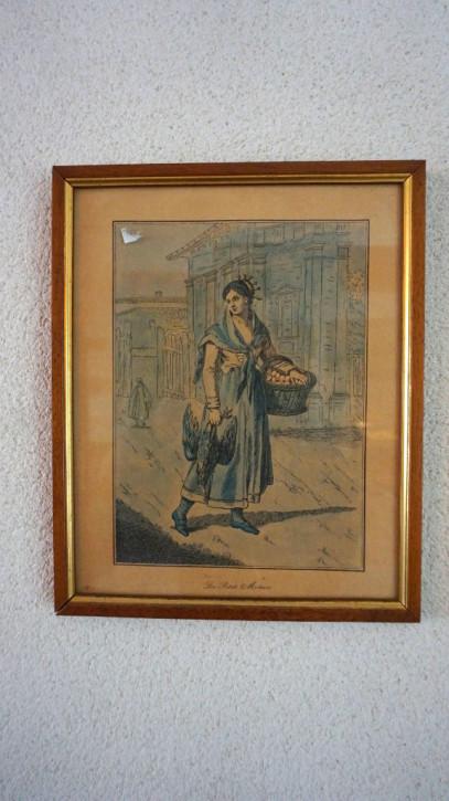 Gerahmtes Bild Bäuerin mit Korb