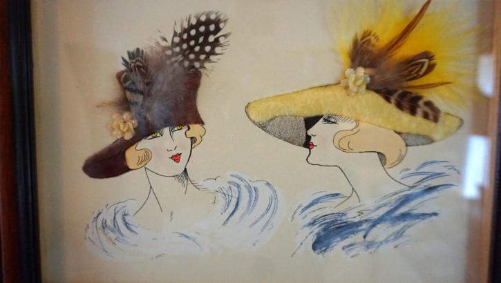 20er Jahre Bild im Holzrahmen Damen mit Federhüten