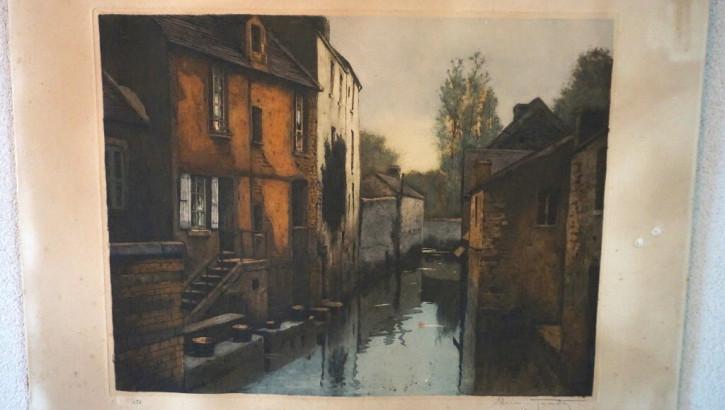 Französische Lithographie Stadtkanal