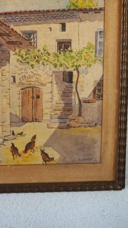Französischer Öldruck Hühner im Hof