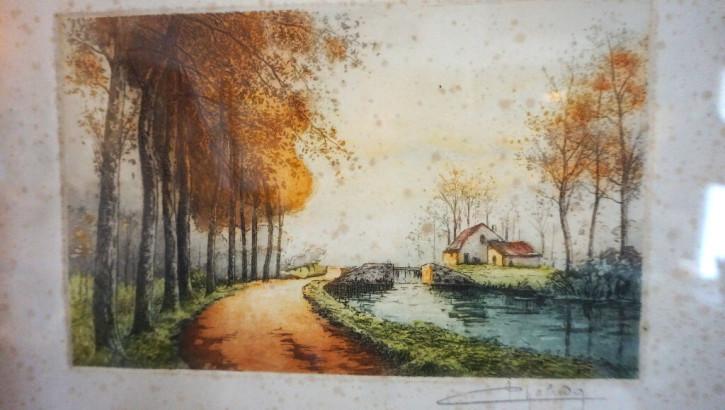 Aquarell im Eichenrahmen Landhaus am Fluss