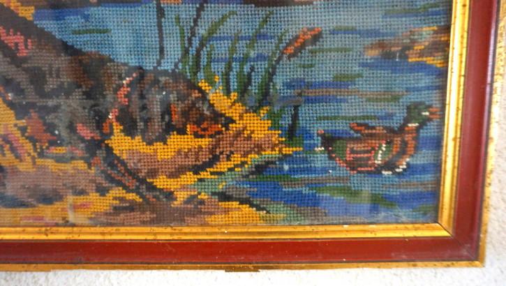 Stickerei Jagdhund und Enten Rahmen Holz und Gold