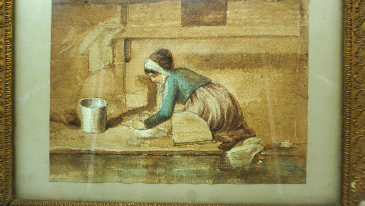 Magd Gemälde Goldrahmen Antik