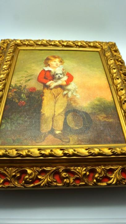 Prachtvoller Druck im Goldrahmen/Box Junge mit Hund