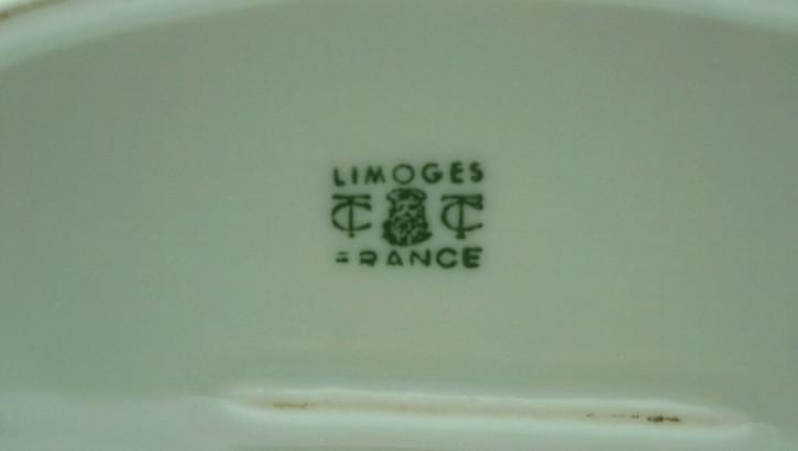 Flaches Porzellandöschen mit Schwan Limoges